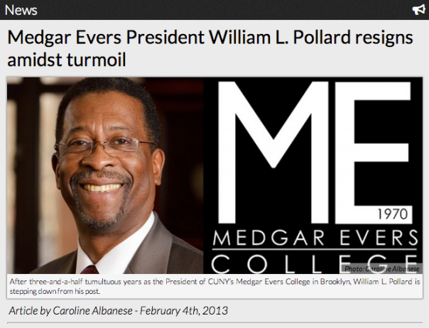 Medgar Evers President William L. Pollard resigns amidst turmoil